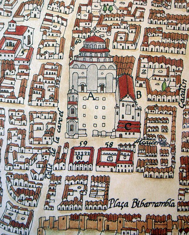 PLATAFORMA DE AMBROSIO DE VICO, 1613 Detalle del entorno catedralicio