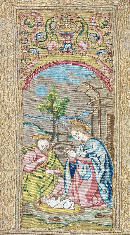 SIGLO XVI: TERNO NEGRO (¿Juan de Villalón?) Casulla: Detalle iconográfico