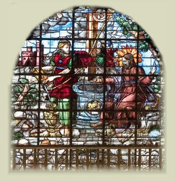 ENCUENTRO DE JESÚS CON LA SAMARITANA Vidriera de Juan del Campo