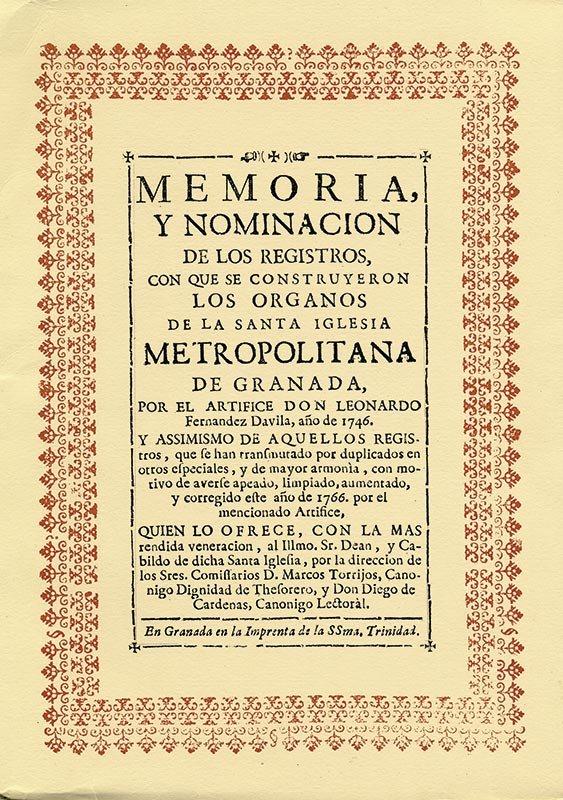 ÓRGANOS DE LA CATEDRAL DE GRANADA Memoria y nominación de sus registros. Portada