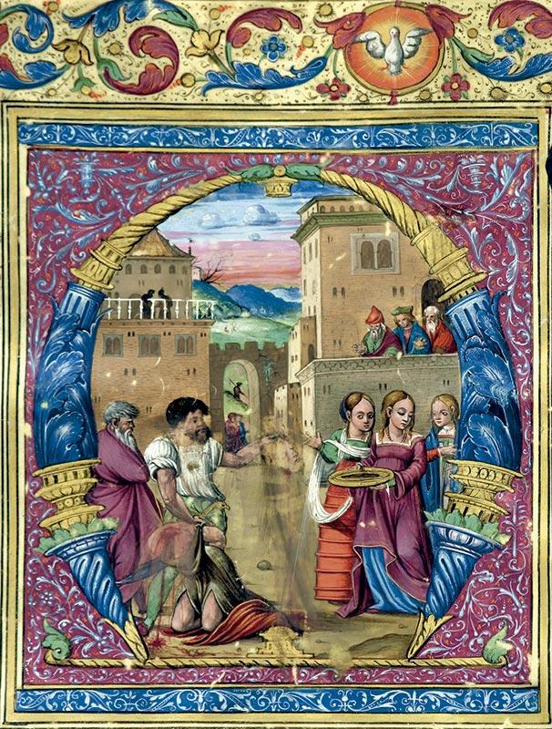 DEGOLLACIÓN DE JUAN, EL BAUTISTA. CAPITULAR M Juan Soriano (fl. 1532)